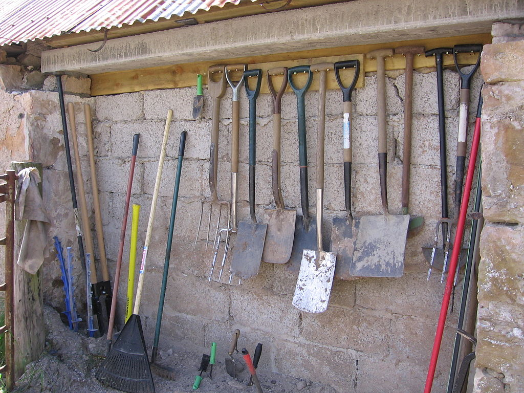 A good array of essential, basic garden tools