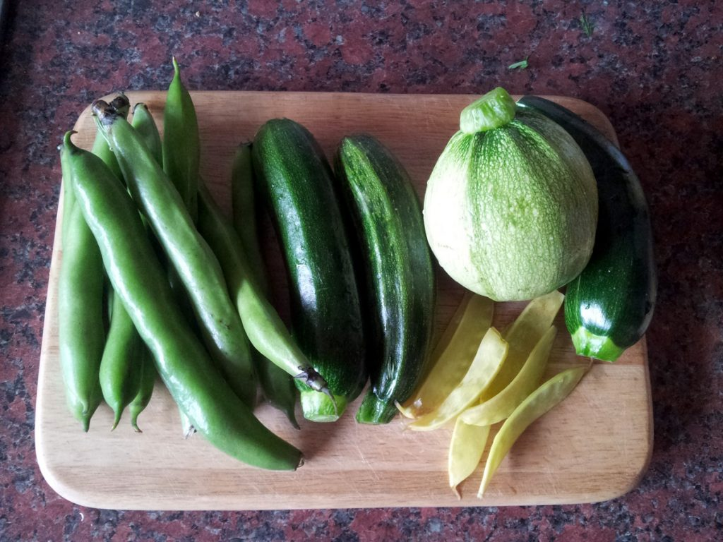 June 2016 courgettes, broad beans, peas