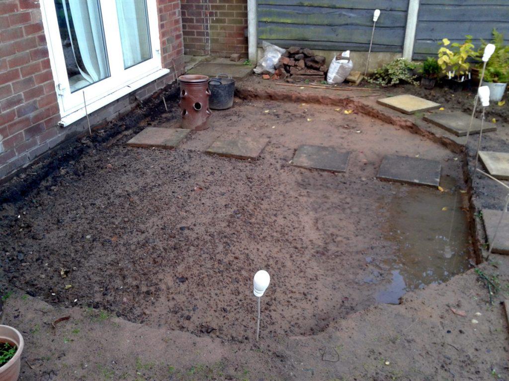 October 2016 patio base dug
